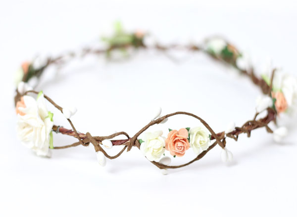 Peach Flower Crown Adult Floral Crown Ivory Wedding Hair Piece